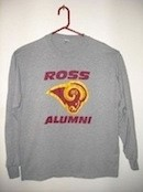 grey long sleeve t-shirt with Ross Alumni and Ross Ram head printed on front