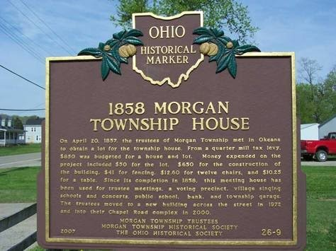 Ohio Historical Marker sign, 1858 Morgan Township House