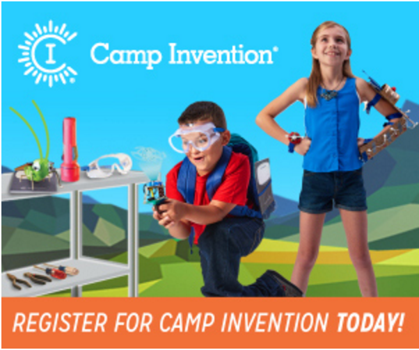camp invention logo on picture of students working on science projects