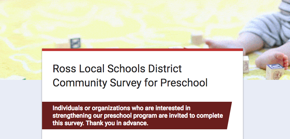 Google Form image linking to Pre-school Community survey.